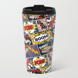 Modern Comic Book Superhero Pattern Color Colour Cartoon Lichtenstein Pop Art Metal Travel Mug