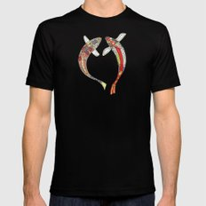 lucky koi coral Black MEDIUM Mens Fitted Tee
