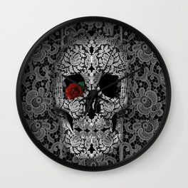 lace floral skull Wall Clock