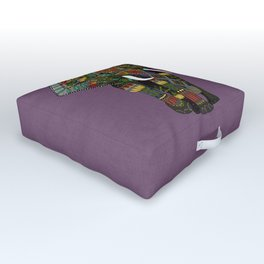 floral elephant violet Outdoor Floor Cushion