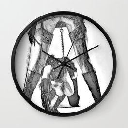 Mistress and her cat - black and white,fetish erotic, adult bedroom games, sexy lesbians Wall Clock