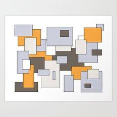 Squares - gray, orange and white. Art Print