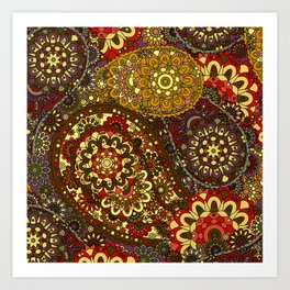 Retro 1960's Paisley Pattern in Red and Gold Art Print