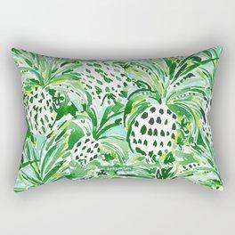 TROPICAL SITCH Green Pineapple Watercolor Rectangular Pillow