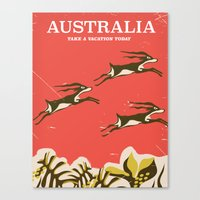 travel poster Canvas Prints featuring Australia vintage travel poster by Nick's Emporium Gallery