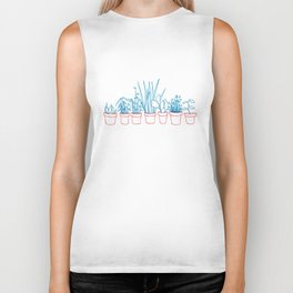 Teal Plants in Red Pots Biker Tank