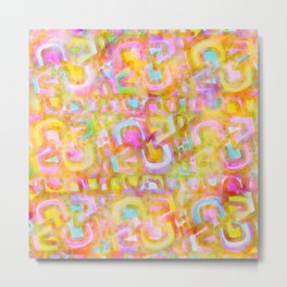 Rainbow Pastel Abstract Typography Watercolor Painting Metal Print