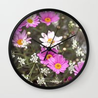 daisy Wall Clocks featuring Daisy by LebensART Photography