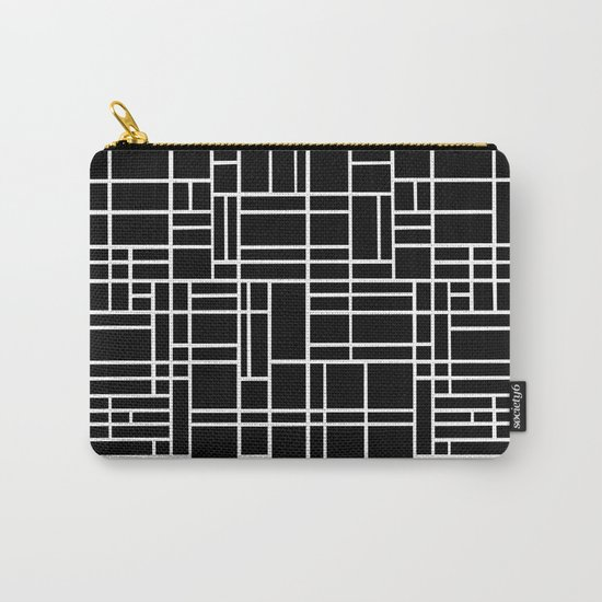 Map Outline White on Black Carry-All Pouch