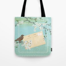 Sketchy Illustration  - Robin And Cherry Blossoms In Spring Tote Bag