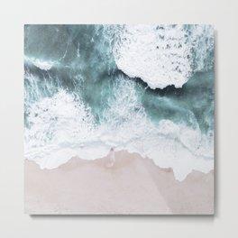 Blue Ocean And White Foam Seashore Metal Print
