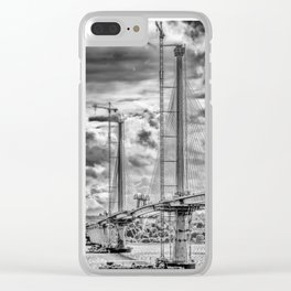 Queensferry Crossing Under Construcion in the Clouds Clear iPhone Case