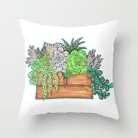 succulents Throw Pillows featuring Succulents by Little Lost Garden
