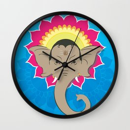 Lord Ganesha Digital Illustration Mandala Art Wall Clock