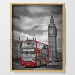 LONDON Houses of Parliament & Red Bus Serving Tray