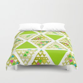 Green Triangles (Pattern) Duvet Cover