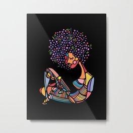 Black Afro Metal Print