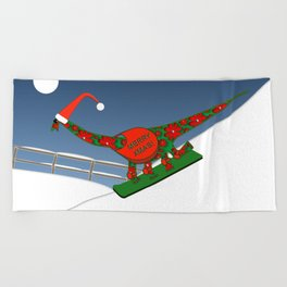 Christmas Dinosaur Snowboarding in a Santa Hat Beach Towel