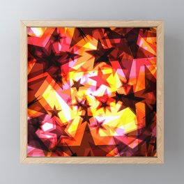 Bright glowing orange golden stars on a light background in the projection. Framed Mini Art Print