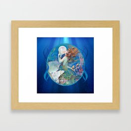 Sensual Art Deco Pearl Mermaid Framed Art Print