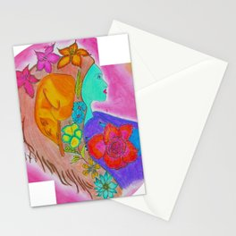 Mulher - raposa Stationery Cards
