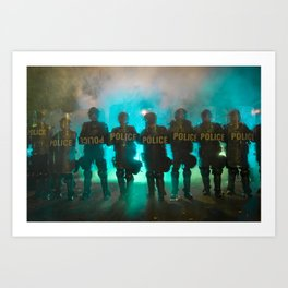 Riot Police Line - Turquoise  Art Print