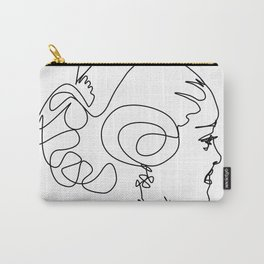 Fallera Wall Art, Line Drawing, Continuous Line, Fallas Sketch, Black and White Art Carry-All Pouch