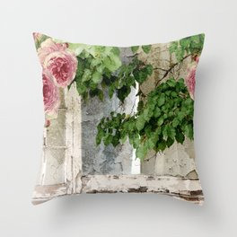 Shabby Cottage Window Roses Throw Pillow