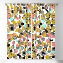 LOLA - abstract art painting modern trendy colors, gold foil, dots pattern decor Blackout Curtain