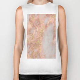 Rose Gold Marble with Yellow Gold Glitter Biker Tank