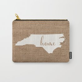 North Carolina is Home - White on Burlap Carry-All Pouch