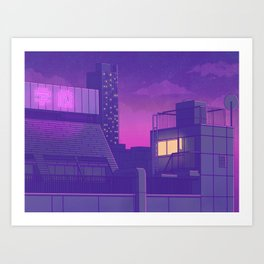 Shinjuku Night Lights Art Print