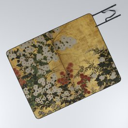 White Red Chrysanthemums Floral Japanese Gold Screen Picnic Blanket
