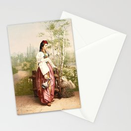 European Peasant girl Stationery Cards