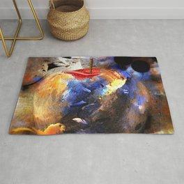 Apple hidden in abstract artwork Rug