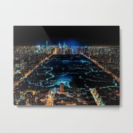 Central Park Midnight New York City Landscape Painting Scene by Jeanpaul Ferro Metal Print