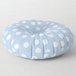 White Round Brush Strokes Pattern on Pale Blue background Floor Pillow