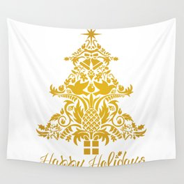 Ornate Pineapple Holiday Tree Wall Tapestry