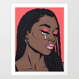 Coral Pink Crying Comic Girl Art Print