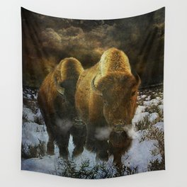 Storm Bison Wall Tapestry