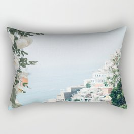 Positano landscape with white flowers Rectangular Pillow
