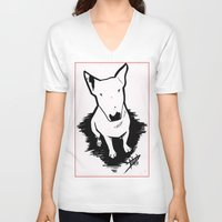 bull terrier V-neck T-shirts featuring bull terrier by sabrina.gennari