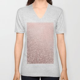 Rose Gold Sparkles on Pretty Blush Pink VI Unisex V-Neck