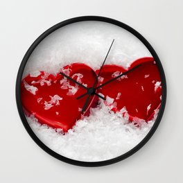 Love Hearts in Snow Wall Clock