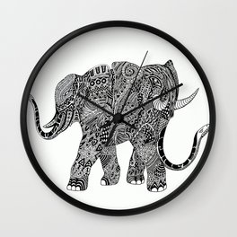 Snakelephant Indian Ink Hand Draw Wall Clock