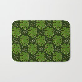 Gold Monstera Leaves in Green Bath Mat