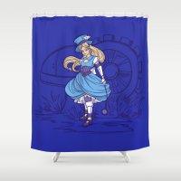 steampunk Shower Curtains featuring Steampunk Alice by Karen Hallion Illustrations