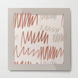 Scribbled Impatience 3   Neutral Colors Pattern Metal Print