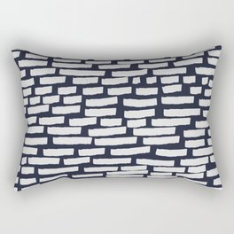 Light Grey Strokes on Dark Blue Rectangular Pillow