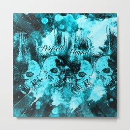 Perfectly Flawed Dreaming Skulls in Blue Metal Print